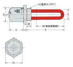 標準製品OH-N型(プラグヒーター・フランジヒーター)